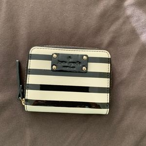 New Black and White Striped Kate Spade Wallet